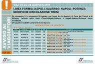 dal 21 al 28 agosto 2011 linea formia–napoli–salerno - Trenitalia