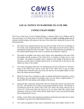 LOCAL NOTICE TO MARINERS NO 12 OF 2006 ... - Cowes Online