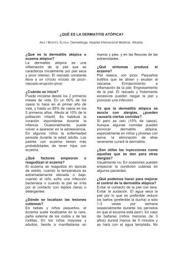 ¿QUÉ ES LA DERMATITIS ATÓPICA? - Fundación Salud Infantil de ...