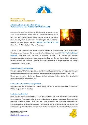 Pressemitteilung Mittwoch, 23. November 2011 Advent, Advent ein ...