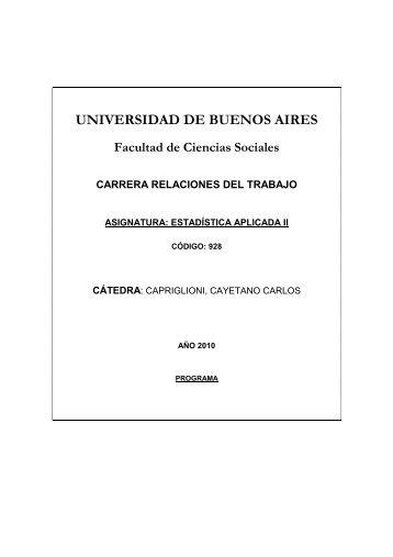 estadística apl II capriglioni 2010 - Carrera de Relaciones del ...