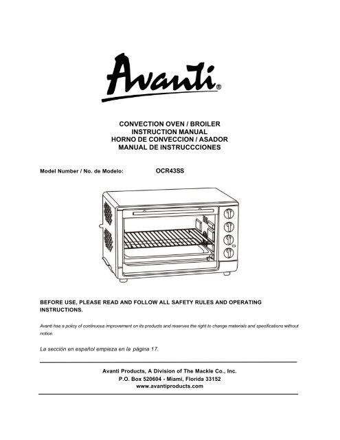 convection oven / broiler instruction manual horno     - avanti products