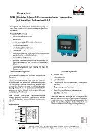 Digitaler Differenzdruckschalter mit optionalem Transmitterausgang