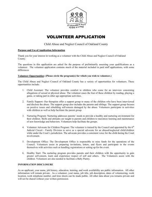 VOLUNTEER APPLICATION - Children\'s Assessment Center