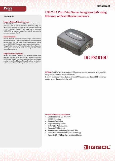 DIGISOL DG-PS1010U USB PRINT SERVER DRIVERS DOWNLOAD (2019)