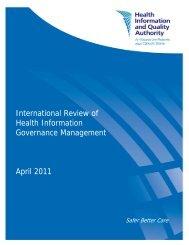 International Review of Health Information Governance ... - hiqa.ie