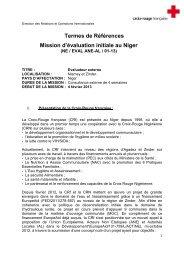 Termes de Références Mission d'évaluation initiale au Niger