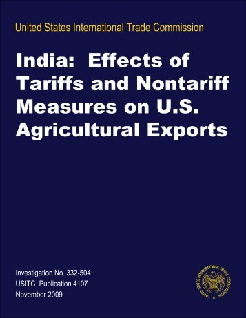 India: Effects of Tariffs and Nontariff Measures on U.S. ... - USITC