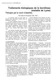 Traitements biologiques de la borréliose (maladie de Lyme) - Cinak
