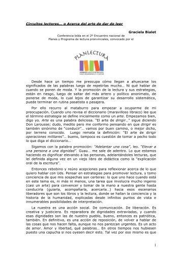 Circuitos lectores… - Plan Nacional de Lectura