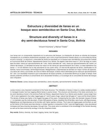 Estructura y diversidad de lianas en un bosque seco semideciduo ...