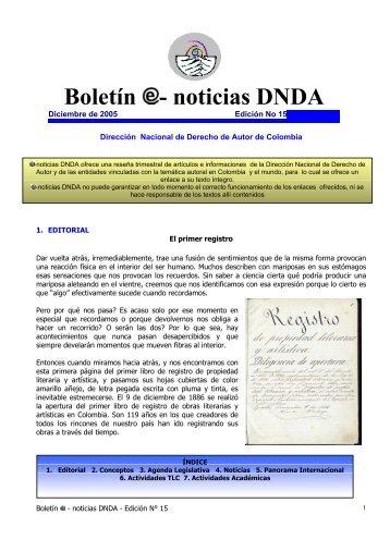 EDICION No 15 Diciembre de 2005 - Dirección Nacional de ...