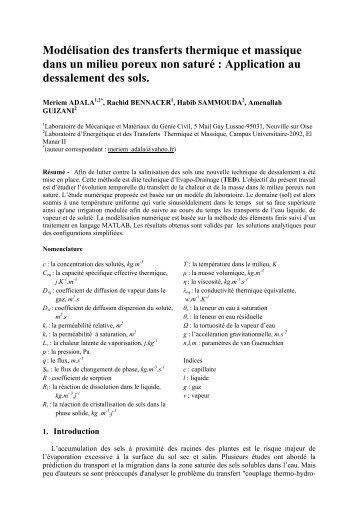 Modélisation des transferts thermique et massique dans un milieu ...