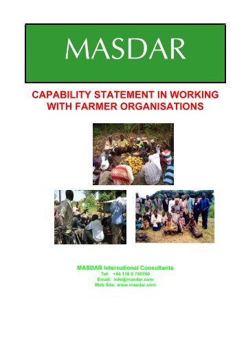 capability statement in working with farmer organisations - Masdar