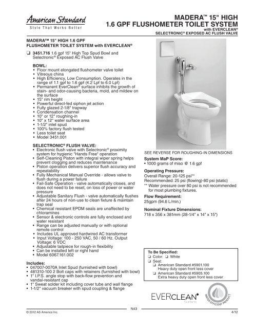 Magnificent Spec Sheet American Standard Prosite Machost Co Dining Chair Design Ideas Machostcouk