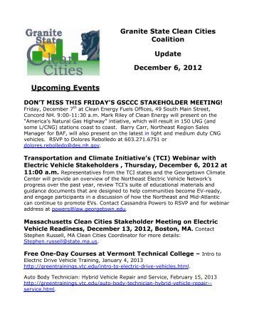 December 2012 - Granite State Clean Cities Coalition - NH.gov