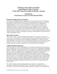 Unitarian Universalist Association Annual Report of the Treasurer To ...