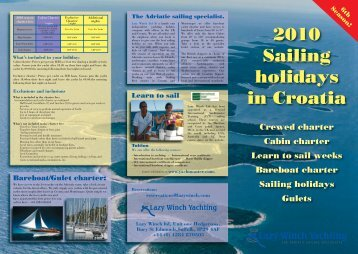 Download our Crewed Charter brochure here. - Lazy Winch Yachting
