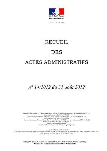 Recueil n°14 du 31 08 2012 - Préfecture de l'Yonne