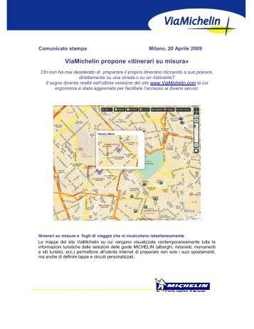 Viamichelin propone «itinerari su misura»