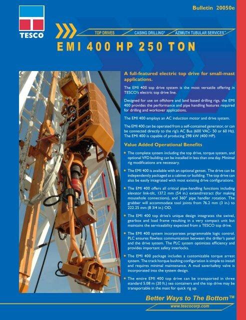 E M I 4 0 0 H P 2 5 0 T O N Tesco Corporation