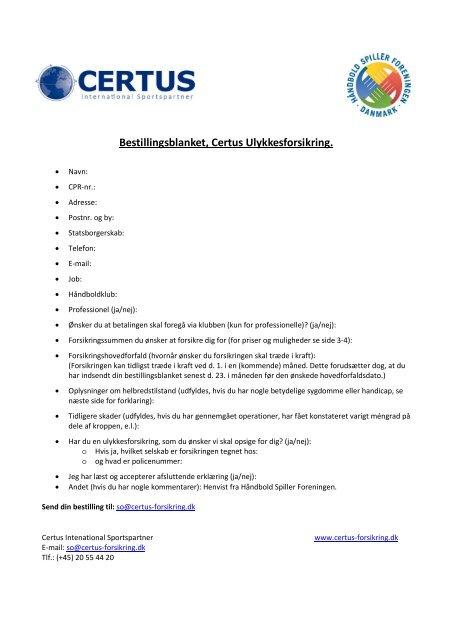 CERTUS BESTILLINGS DOKUMENT - HÃ¥ndbold Spiller Foreningen