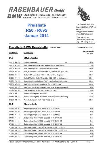 Preisliste R50 - R69S Dezember 2013 - Rabenbauer GmbH