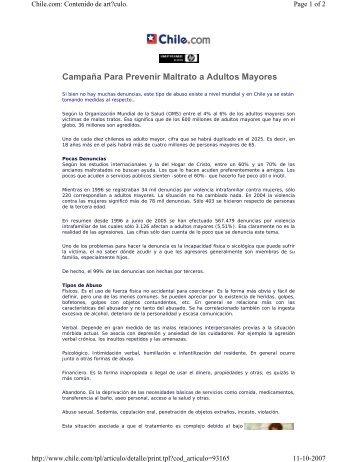 Chile: Campaña Para Prevenir Maltrato a Adultos Mayores