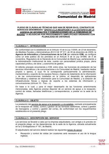 pliego de cláusulas técnicas que han de regir en el contrato de ...