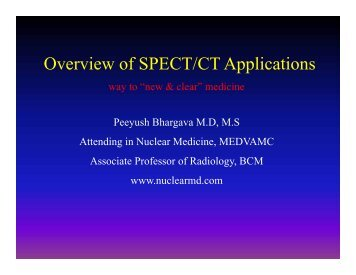 Overview of SPECT/CT Applications in Nuclear Medicine