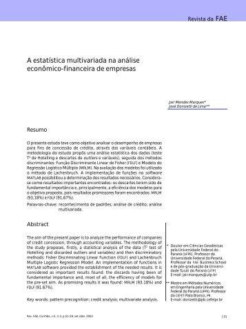 A estatística multivariada na análise econômico-financeira de ...