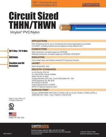Sized THHN/THWN - Cerro Wire and Cable Company