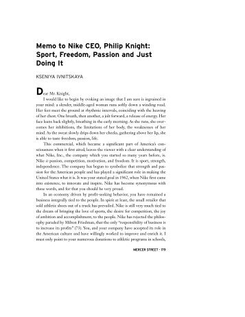 Memo to Nike CEO, Philip Knight: Sport ... - New York University