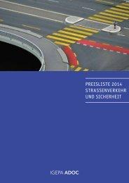 Preisliste 2014 Strassenverkehr und Sicherheit