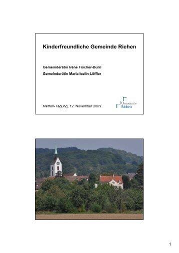 Kinderfreundliche Gemeinde Riehen - Handout - Metron