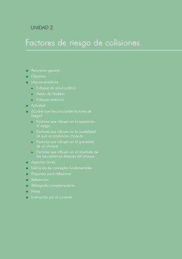 Factores de riesgo de colisiones - p u b l i c a t i o n s . p a h o . o r g