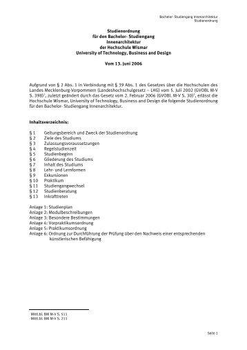 Studienordnung für den Bachelor- Studiengang Innenarchitektur der ...