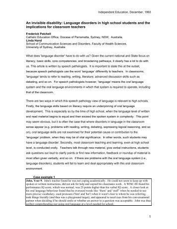 An invisible disability: Language disorders in high school students ...