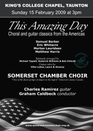 Choral and guitar classics from the Americas - Somerset Chamber ...