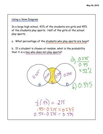 Handout 2 sets example venn diagram using a venn diagram in a large high school 43 of the students ccuart Choice Image
