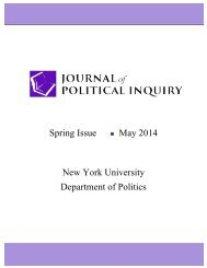Spring Issue May 2014 New York University Department of Politics