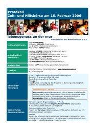 Protokoll Zeit- und Hilfsbörse am 15. Februar 2006 lebensgenuss an ...