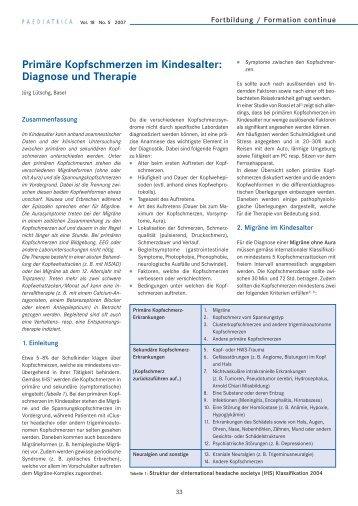 Primäre Kopfschmerzen im Kindesalter: Diagnose und Therapie