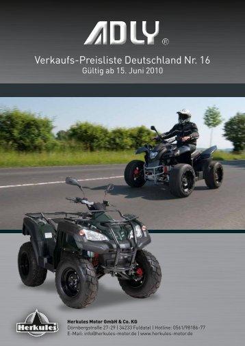 Adly Herkules Fahrzeug + Zubehör-Preisliste