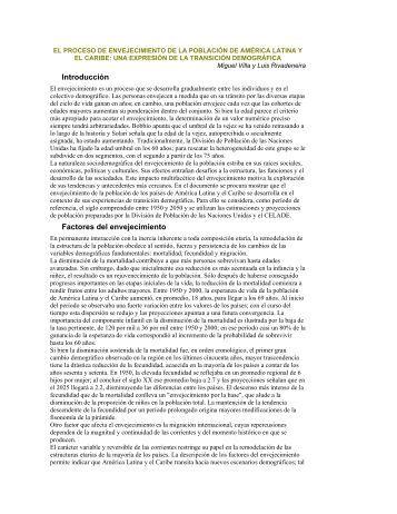 El proceso de envejecimiento de la población de América Latina y ...