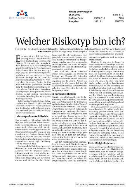 Welcher Risikotyp bin ich - Swiss Finance Institute