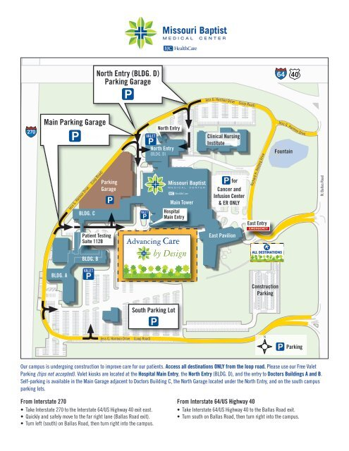 missouri baptist university campus map Campus Map Missouri Baptist Medical Center missouri baptist university campus map