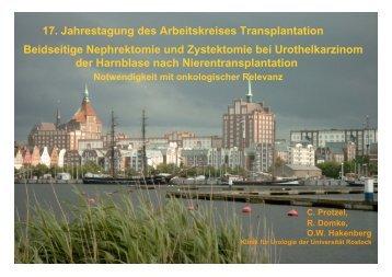 17. Jahrestagung des Arbeitskreises Transplantation Beidseitige ...