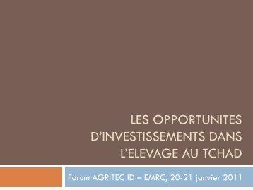 Les opportunites d'investissements dans l'elevage au tchad - EMRC