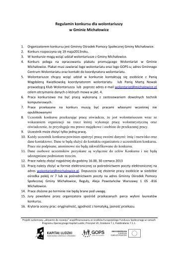 Regulamin konkursu - Gminny Ośrodek Pomocy Społecznej Gminy ...